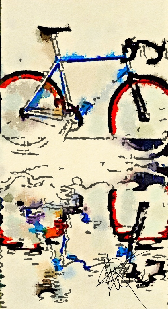 Biketowater, ink Printonly art by Mariam Qureshi