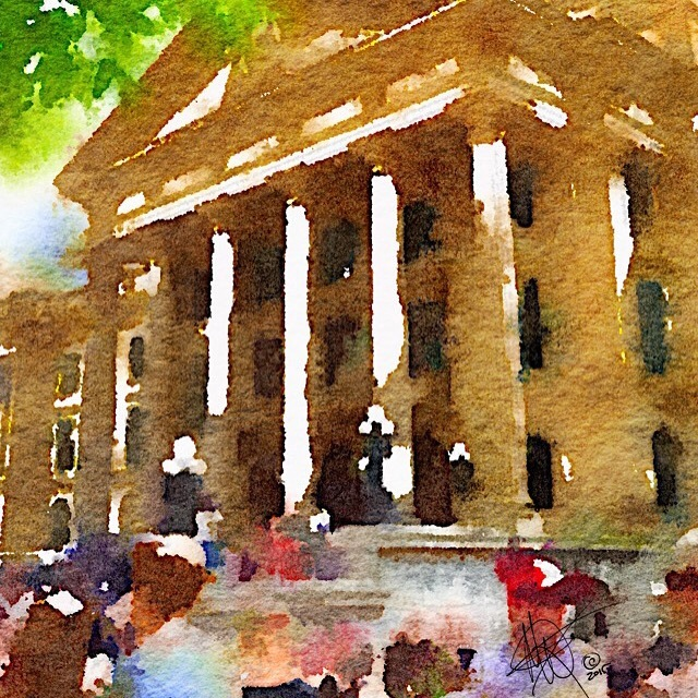 AlbertaLeg when NDP came into power, water-colour print only by Mariam Qureshi