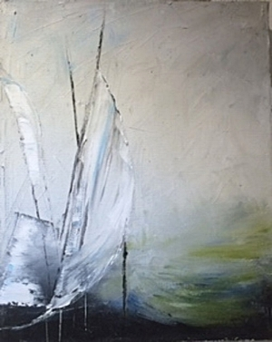 Romantic Sails Oil by Mariam Qureshi