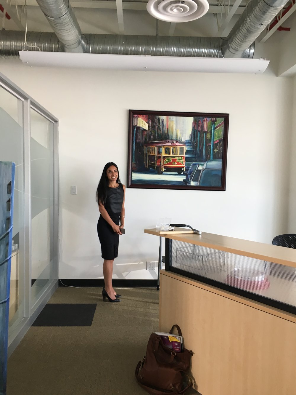 This a picture of a law firm on 124st. This lawyer is very happy with the rental.  It has increaced traffic at their firm, it has allowed them to be much more approachable and engaging with the community, while it shows they are very  supportive of artists. Creating a beautiful reputation for them and the artists at hand. Thank you VIRK LAW.