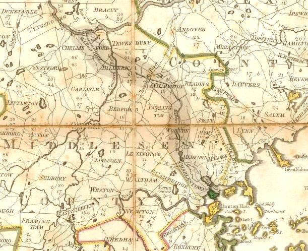 This 1801 map of the Middlesex Canal in Massachusetts shows the town of Dracut in the top left quadrant. The city of Lowell isn't shown because its founding dates from 1826. Across the northern border of Dracut is Pelham, New Hampshire. The Atlantic Ocean is about 40 miles to the east of Dracut. Boston Harbor is in the bottom right quadrant, about 35 miles southeast of Dracut. (Map image courtesy of WikiCommons)