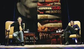 Stephen King and Andre Dubus III at the Tsongas Center. (courtesy of UMass Lowell)