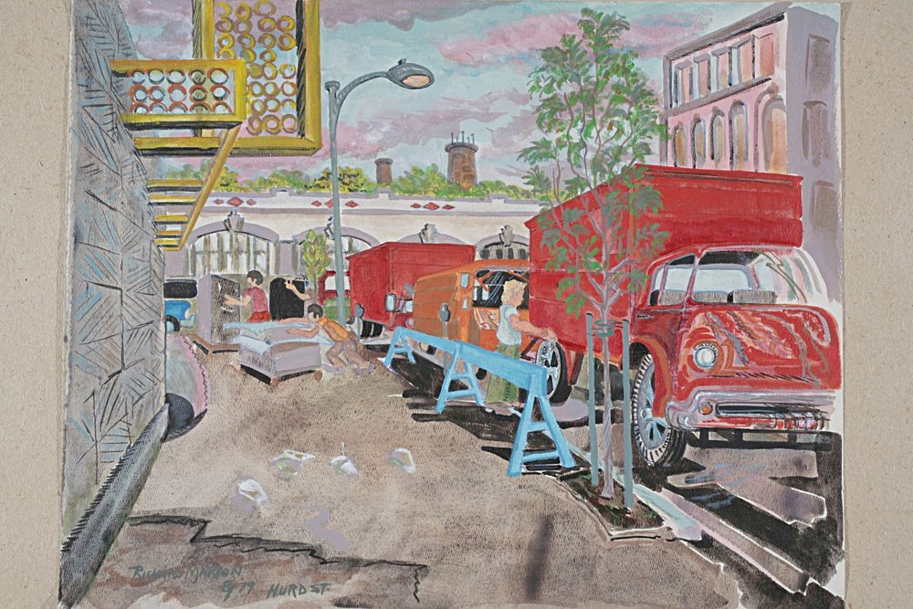 Hurd Street Movers  by Richard Marion (acrylic on paper, 1979)