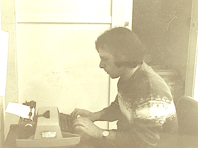 Writing news for the University of Lowell, now UMass Lowell, in Cumnock Hall, 1979.