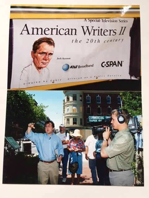 Guiding a walking tour of Jack Kerouac literary sites in Lowell for C-SPAN's  American Writers  series in 2002.