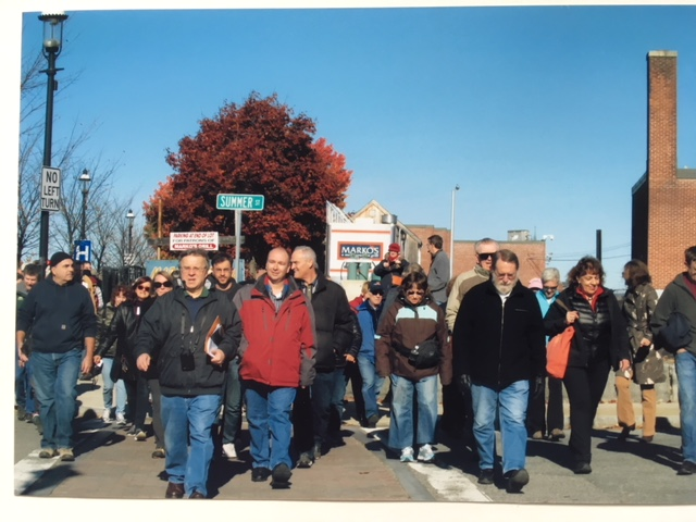 Leading a tour of the Lord Overpass area and South Common Historic District with Dick Howe, Jr., for the Lowell Walks series in 2015.