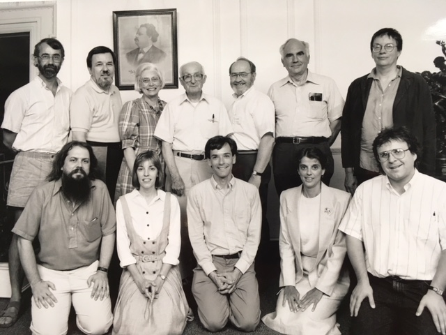 Gathering of Franco-American writers in Manchester, N.H., at the Franco-American Center, c. 1991. Top row, far left, Denis Ledoux; second from right, Arthur L. Eno; far right, Annie Proulx. Bottom row, far left, Robert Perrault; middle, Stephen Riel; far right, PM. Note that Annie Proulx's best-seller  The Shipping News  was published in 1993. She won the Pulitzer Prize and National Book Award for that novel.