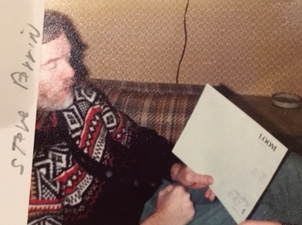 Steve Perrin working on the first poetry broadside of the group now known as the Merrimack Valley Poets. It would be published as LOOM 1 in December 1978.