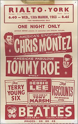 Tour poster for The Beatles and pop music stars in 1963. This show was in York.