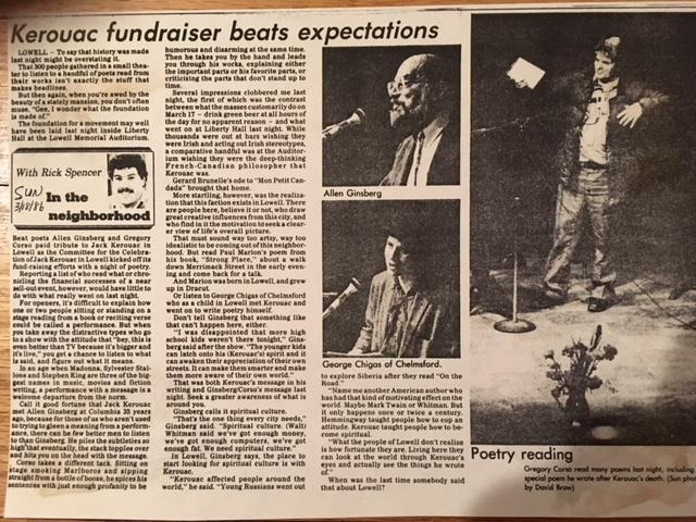 Lowell Sun  newspaper, March 18, 1986. Article by Rick Spencer.