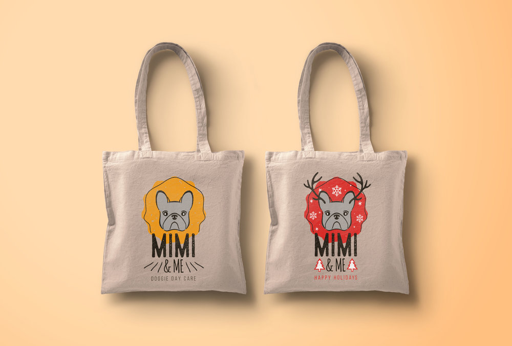 The tote bags were created for the clients of Mimi & Me.