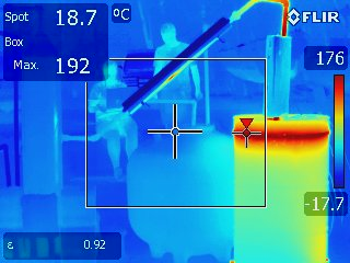 FLIR thermal image of the pyrolysis system in the foreground, with team members recording data in the background.