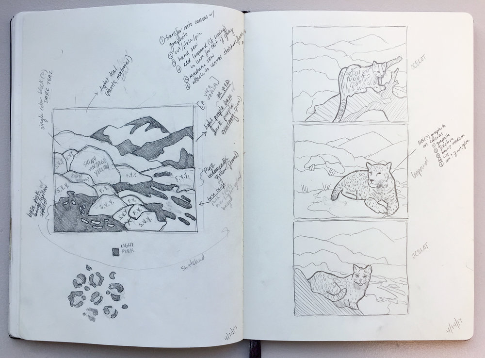 Beginning sketches where I mapped out the landscape and decided which piece of fabric I would use where. On the right page, you'll see a few different compositions I was first considering.