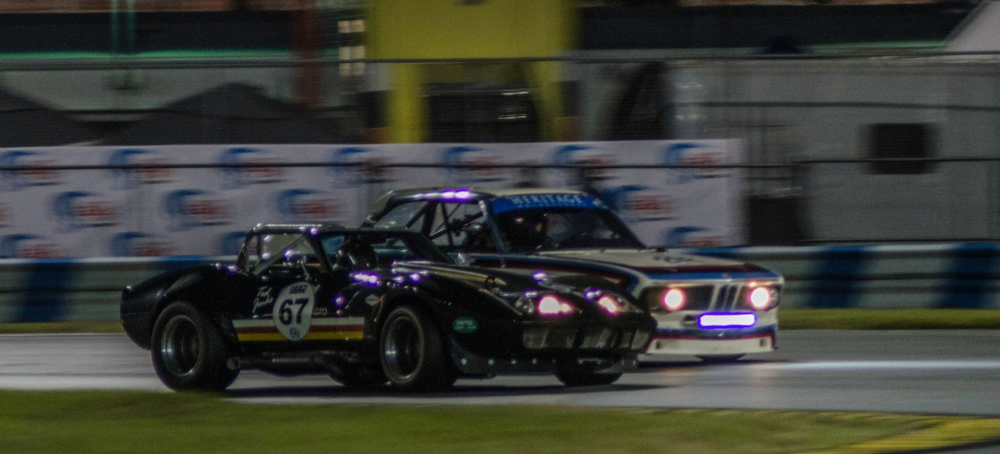 Passing Brian Redmond on the inside of the International Horseshoe at Daytona - 0200 Sunday morning