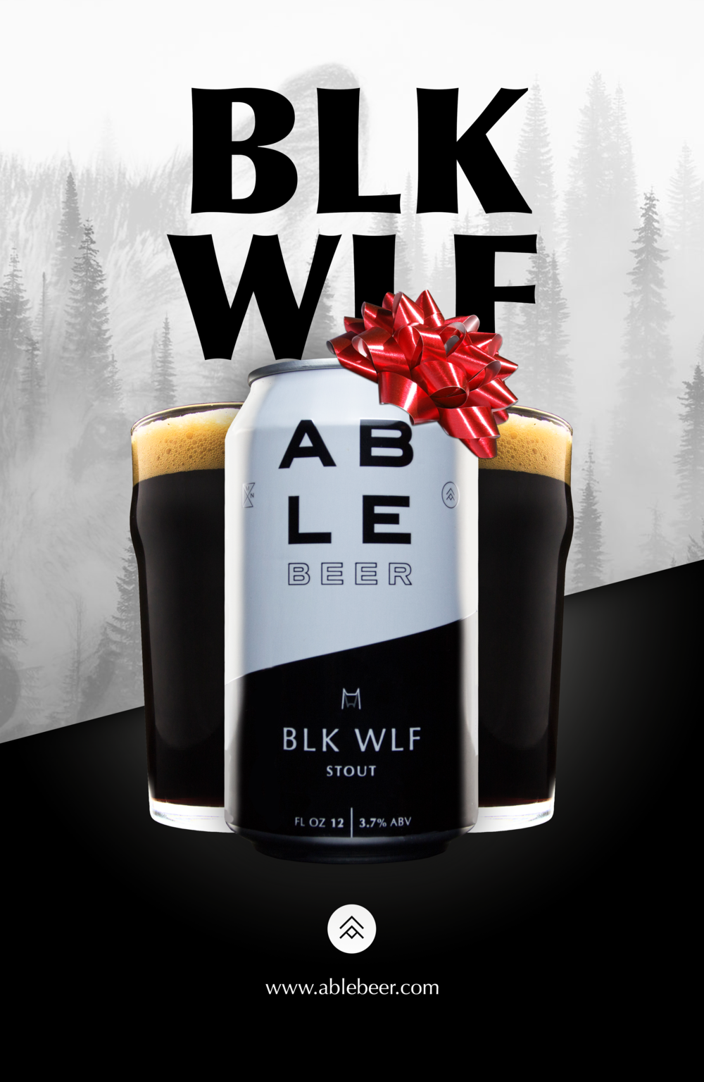 """An ad concept I did for Able Beer. Same as the first one except """"Holiday Edition"""""""