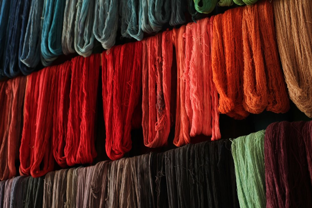 Once the cotton is dyed, it takes  another day  for the color to dry.