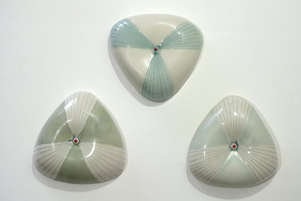 Triangle Trio Wall Pillows - Porcelain, Cone 6 Oxidation, 2016