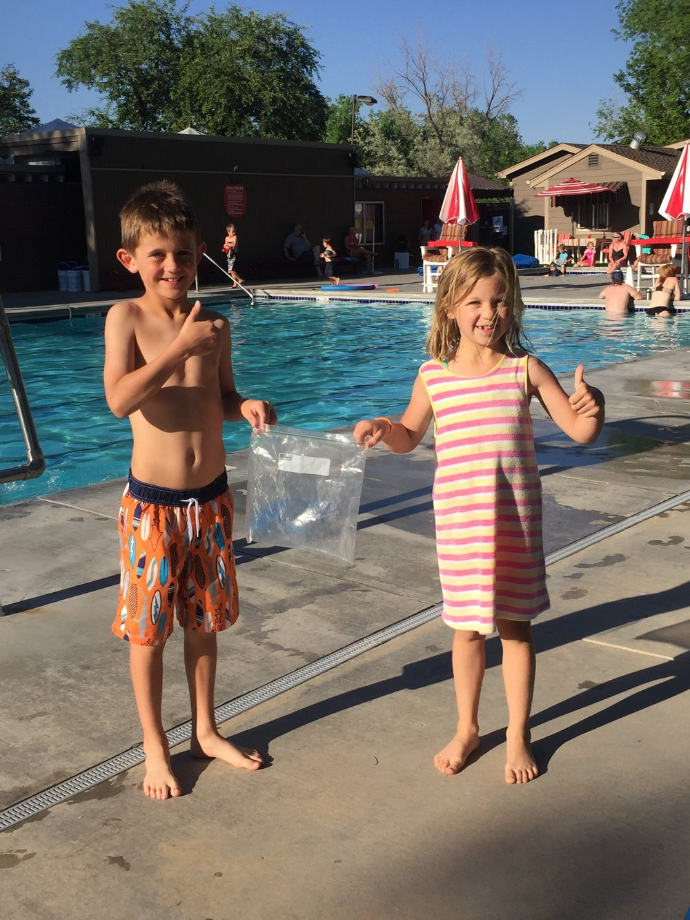Local children performed acts of kindness at a pool