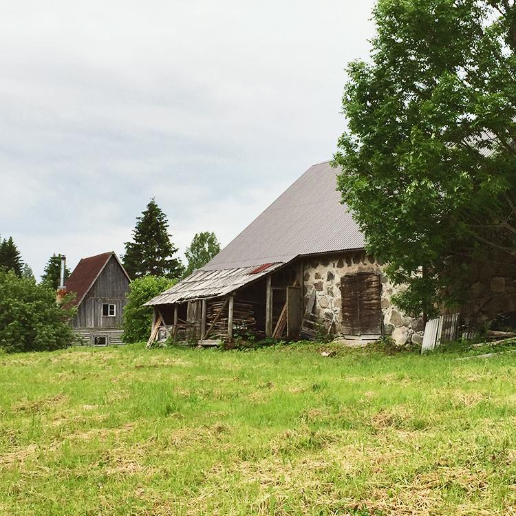 a few of the original cabins at Ozolini farm