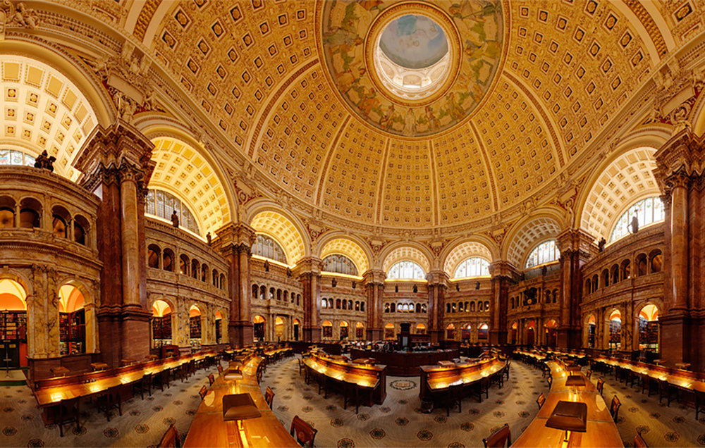 inside the Library of Congress, with its 838 miles worth of bookshelves