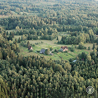 Aerial photo of Ozolini farm in the countryside of Latvia