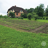 Farmhouse and herb garden on Ozolini farm