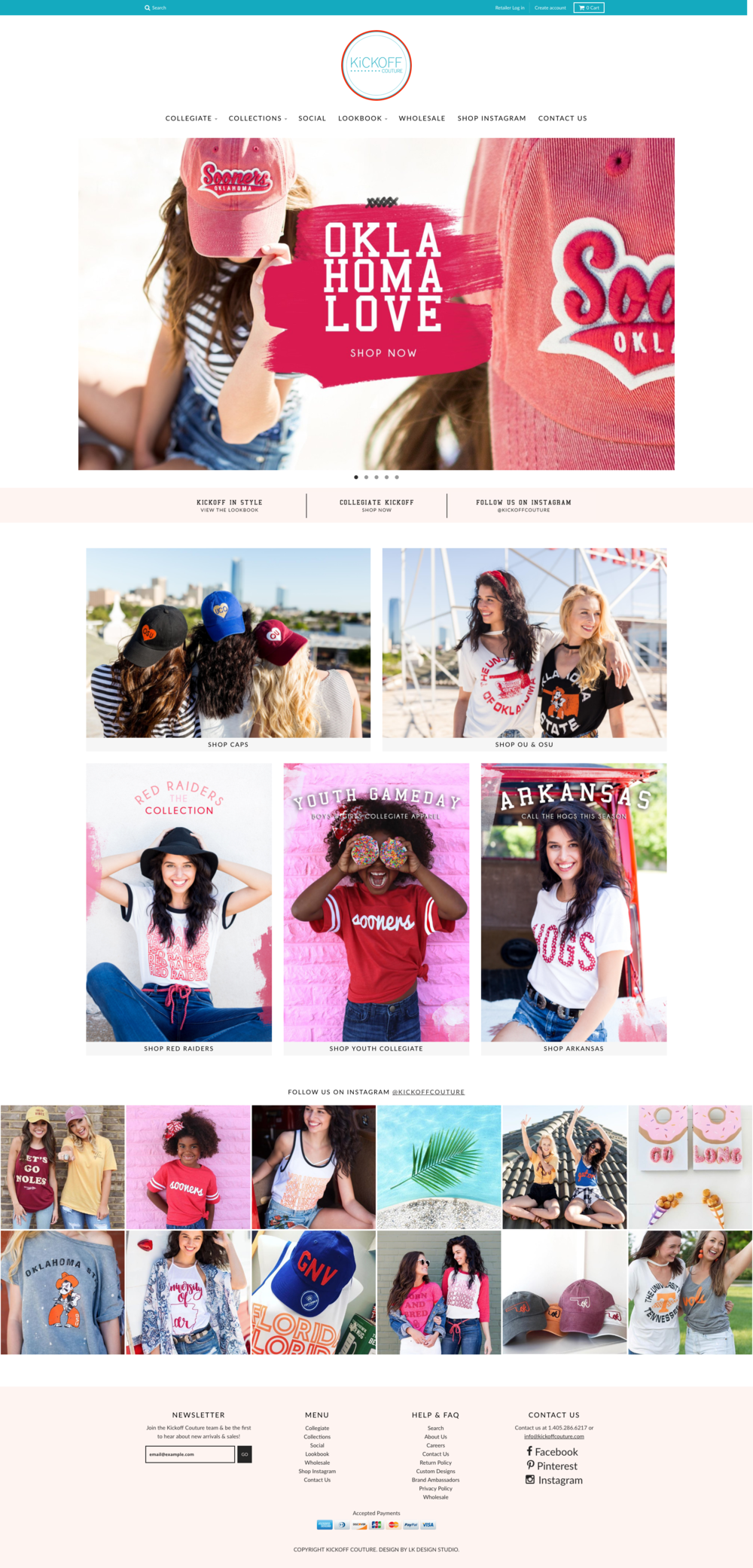 Shopify Web Design + Fashion Boutique + Kickoff Couture Wholesale Tee Shirts | Collegiate Apparel