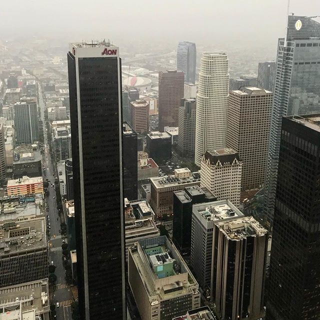 High Life. Looking out over LA. Pretty epic... Even on a rainy day. #dtla #oueskyspace #dtla #librarytower