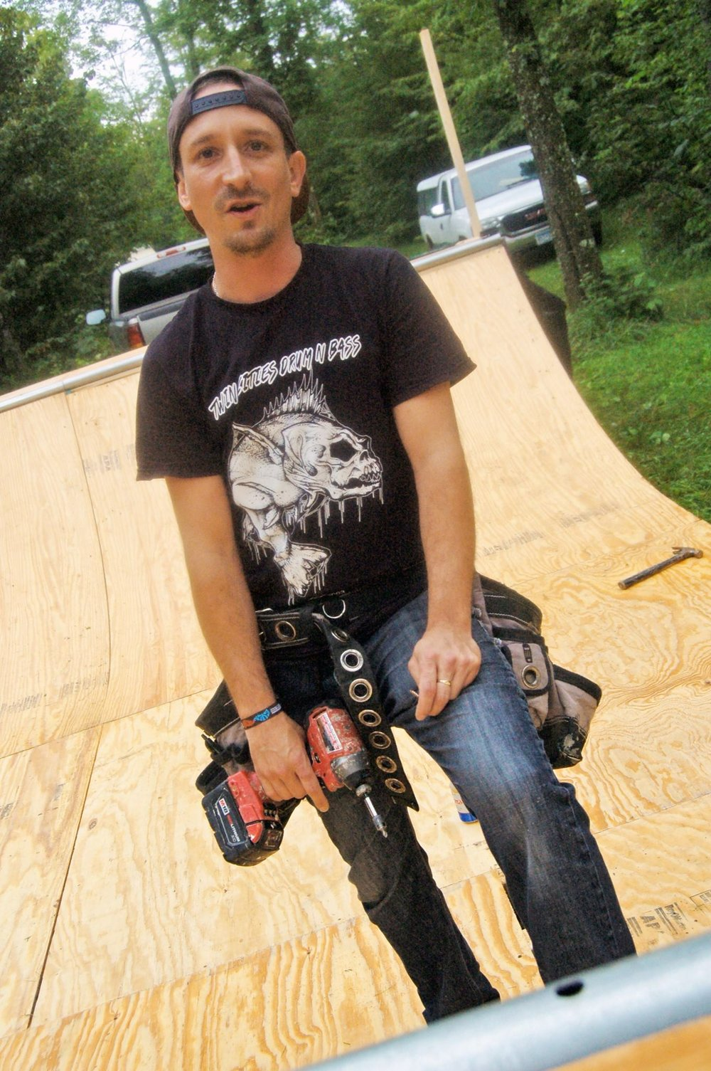 Virgo putting the finishing touches on the skate ramp. Photo courtesy James Kloiber.