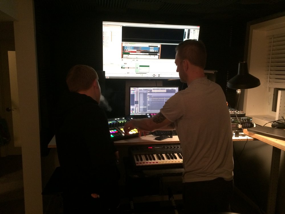 Loeding helps James with a work-in-progress track.