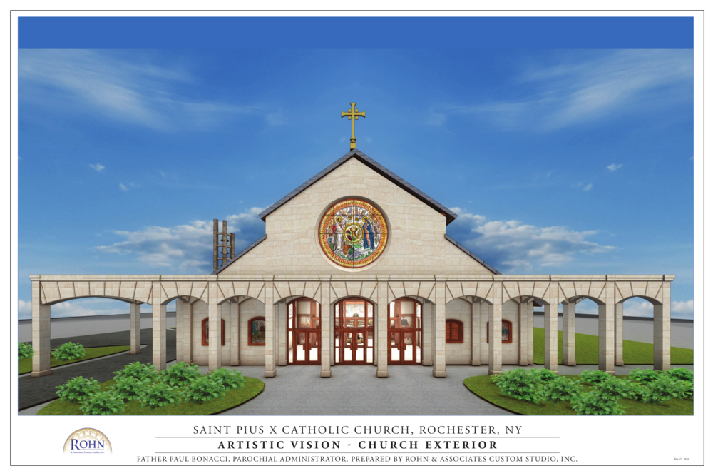 This is the view of the front of the new church building from the road by the sign out front. Notice the very Catholic feel, with beautiful rose window, cross at the peak and inviting entrance. In this rendering the parish center would be to the right of the church connected to it by way of the arches. With the arches connecting the buildings there is a wonderful opportunity for a meditative prayer garden in the space between the buildings.