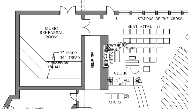 The music ministry will have a new rehearsal and warm-up space near the back of the church. This space will allow the musicians ample space to ensure that they are ready to lead us all in song each and every mass.