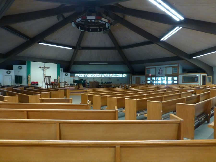 The octagonal church looking at the altar from the back corner.