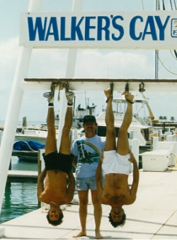 The author (right) hanging around North Abacos, Bahamas