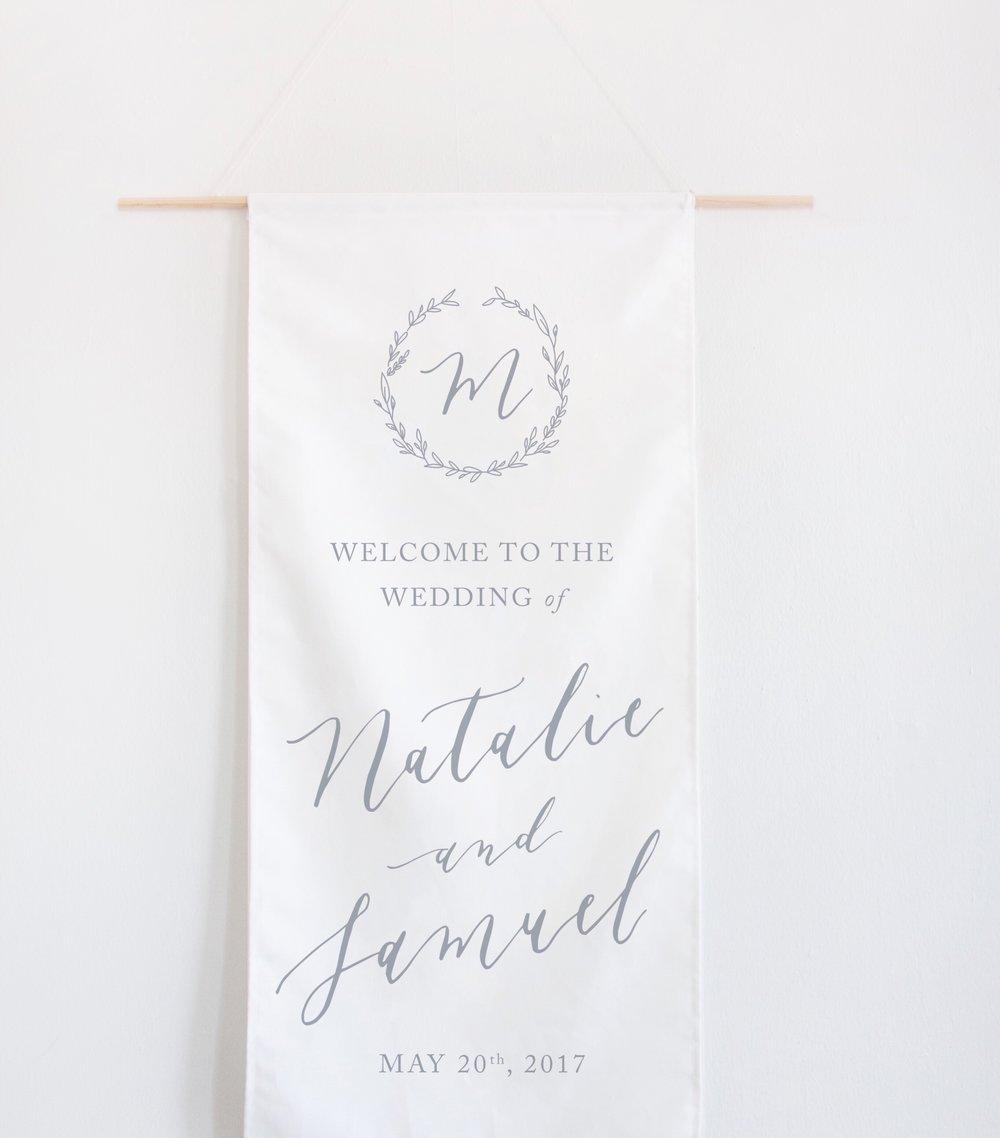 Custom Calligraphy Wedding Welcome Banner by Quinn Luu