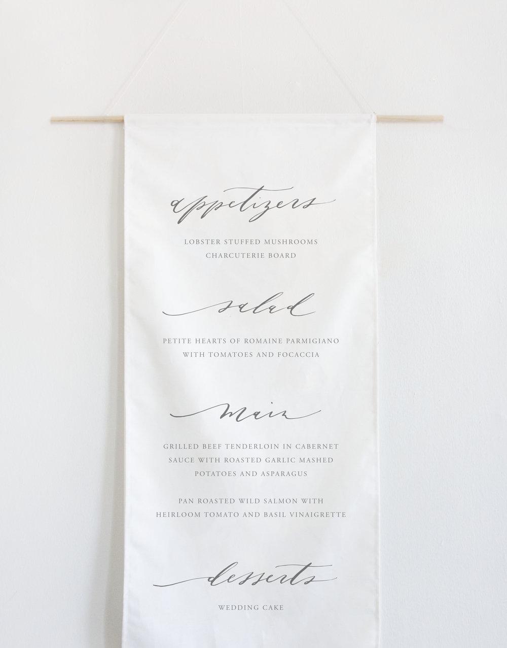 Custom Calligraphy Wedding Menu Banner by Quinn Luu