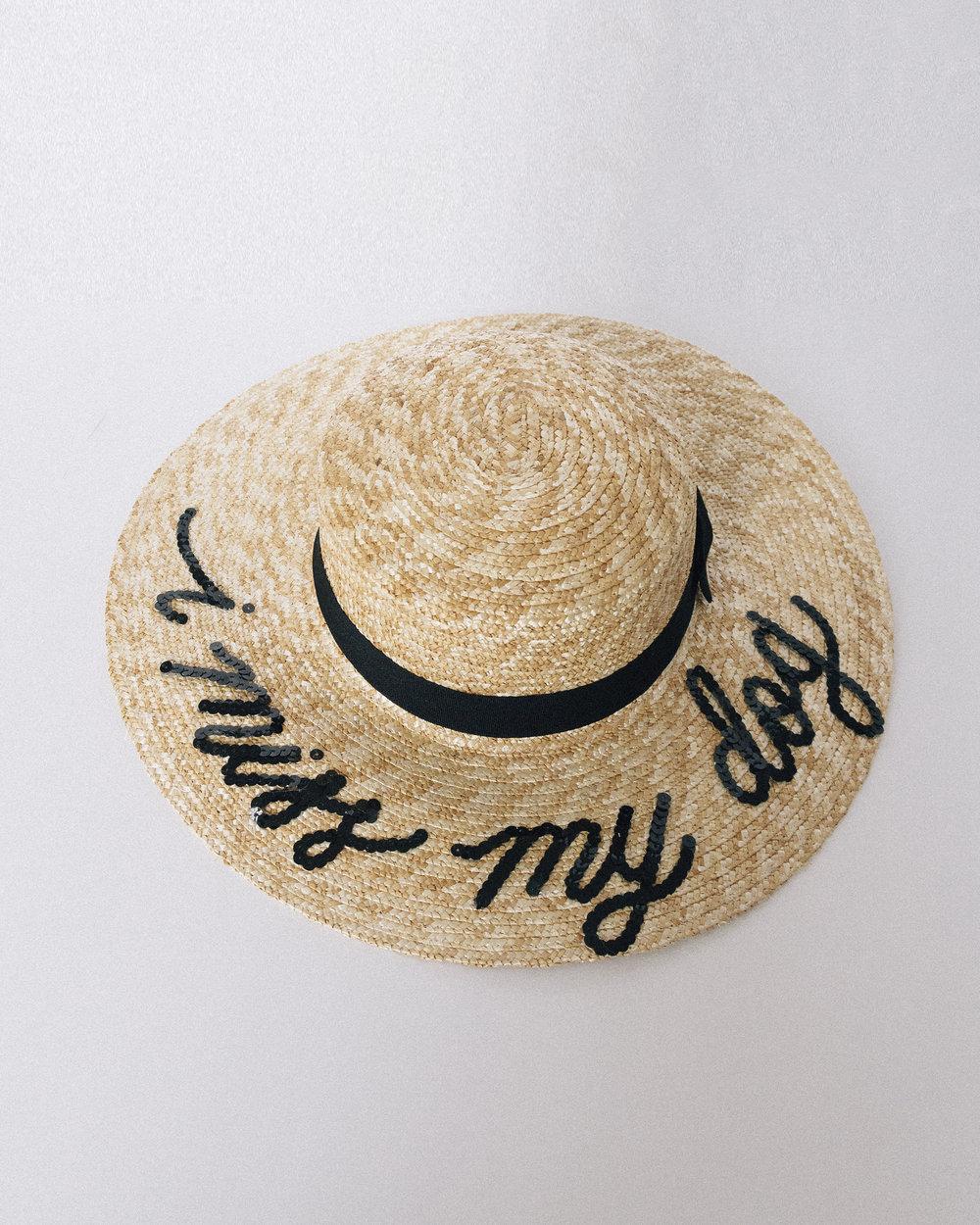 Custom sequin lettered straw sun beach hat quinn luu creative studio jpg  500x625 Personalized sun hats e84245ae5e25