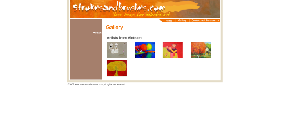 I liked that the gallery page displayed the full images, but I thought the name was a little misleading. As a user, I would go to the gallery page to view all the artworks available, but this gallery page only has one artwork per artist.   I think that an Artists from Vietnam page is necessary, but that should be a separate page that the user would go to if he wanted to learn more about each artist. In my redesign, the gallery page will be completely focused on the artwork, allowing the user to view each one in detail without any distractions.