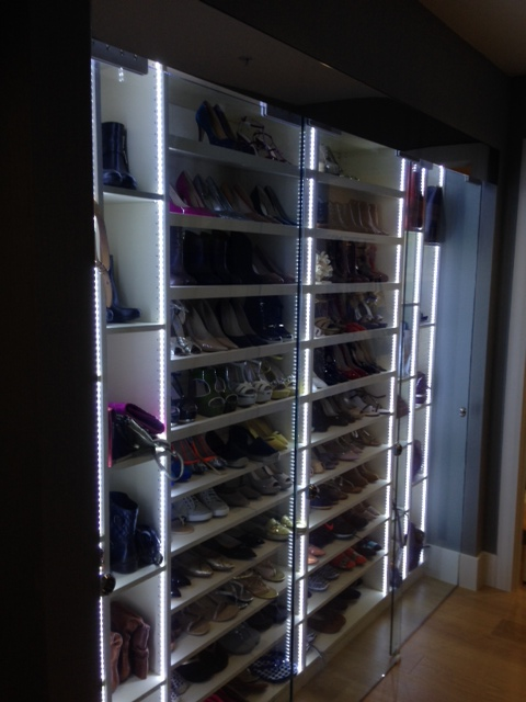 Whatu0027s The Best Way To See And Select All Of Your Purses And Shoes? We  Created Adjustable Wood Shelves With LED Lighting Built In. The Glass,  Sliding Closet ...
