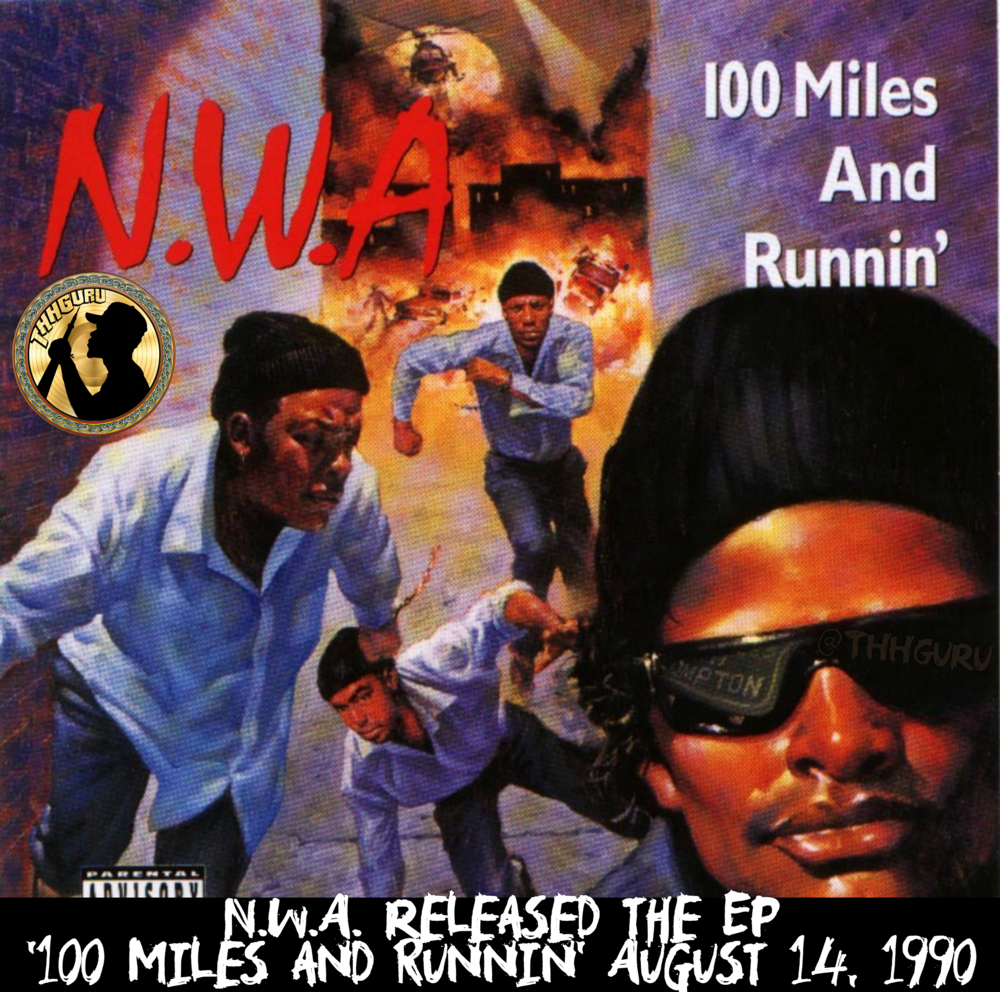 """Prior to recording the EP, MC Ren, Dr. Dre, Eazy-E, & DJ Yella had signed a long-term contract with the Ruthless Records label to be an official """"N.W.A."""" group for $75,000 USD for work on Straight Outta Compton, this EP, advance & for their future work for Niggaz4life. However, member and lead vocalist Ice Cube refused the contract's terms and consequently separated himself from the group, which kicked off his solo career. It is the first record the group released after he left. This EP contains negative references towards him. The title track """"100 Miles and Runnin'"""" was the group's first track to gain radio airtime and appear on TV with its music video. Dr. Dre, who had just finished working with The D.O.C.and Above the Law, added atypical funky beats and the slow synth groove on """"Just Don't Bite It"""". """"Sa Prize, Pt. 2"""" is a sequel to the controversial """"Fuck tha Police"""" from the Straight Outta Compton album. The group makes a number of references to Ice Cube. On the title track, Dre states: """"It started with five but yo, one couldn't take it / So now there's four 'cause the fifth couldn't make it"""". In """"Real Niggaz"""" he is likened to Benedict Arnold, the proverbial American traitor, and MC Ren says, """"Only reason niggaz pick up your record is cause they thought it was us"""", referring to Ice Cube's first solo album AmeriKKKa's Most Wanted, which had been released earlier that year. Ice Cube responded to these attacks on Death Certificate (1991) on a song named """"No Vaseline"""", which many thought won the battle. Three songs from the EP, """"100 Miles and Runnin'"""", """"Just Don't Bite It"""", and """"Real Niggaz"""", were later released on N.W.A's Greatest Hits. """"Real Niggaz"""" also appears on N.W.A's final studio album, Efil4zaggin, a year later; the 2003 remastered edition of the album appended the rest of the EP to the track listing. """"Just Don't Bite It"""" was later sampled in Eazy-E's solo track """"Gimme That Nutt"""" as well as Sublime's song """"Let's Go Get Stoned."""" - Via Wikipedia"""