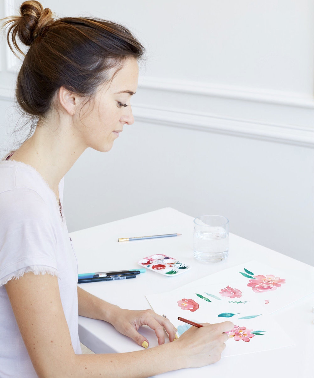 I don't usually look this serious when I watercolor, promise.