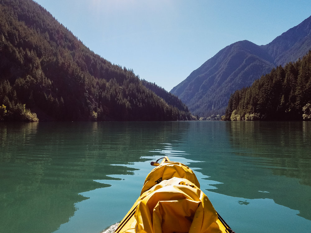 First you make your way through Diablo Lake and get portage across the Ross Lake dam.