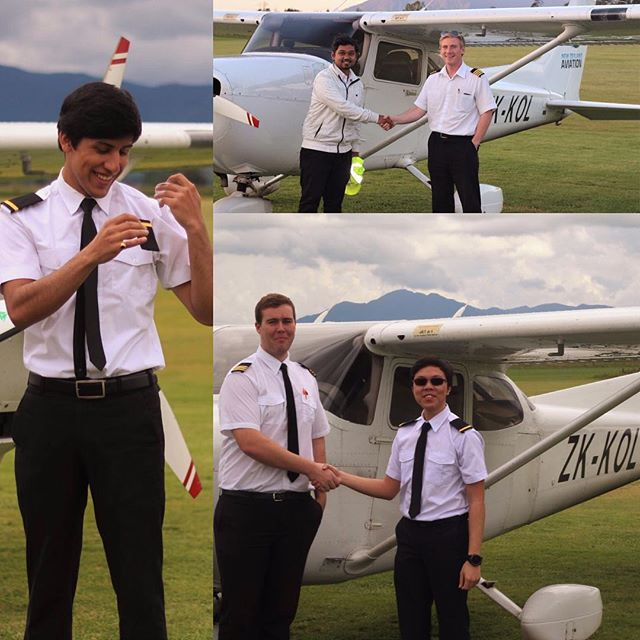 Recently passed PPL students Siddarth and Wei receive their Epaulettes today, while Rizwan has achieved a major milestone going first Solo! Well done guys!  You too can kick start your career in Aviation, contact us today  www.newzealandaviation.com/contact-us and on Facebook at www.facebook.com/joinNZA #flying #aviation #aviationlovers #plane #planes #aircraft #pilot #pilotlife #futureaviators #studentpilot #futurepilot #cessna #c172 #cessna172 #planepics #goals #instaplane #instapilot #aviationphotography #avgeek
