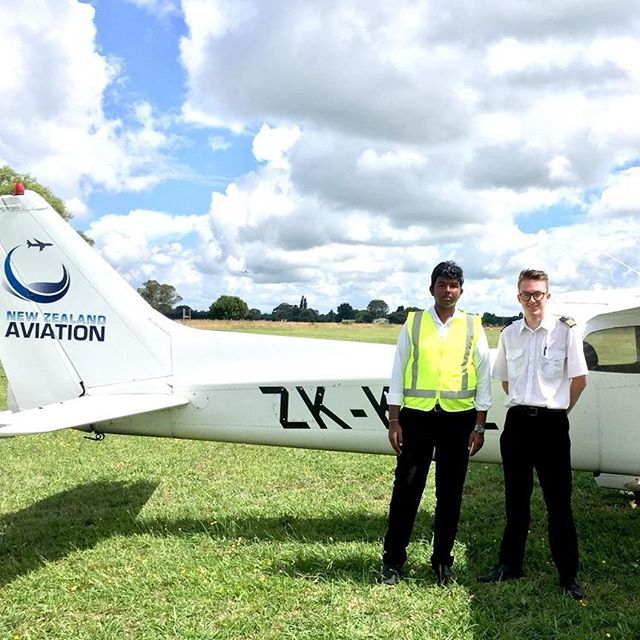 Congratulations Nithish on going first solo in only 11.3 hours!  Seen here with his instructor David.