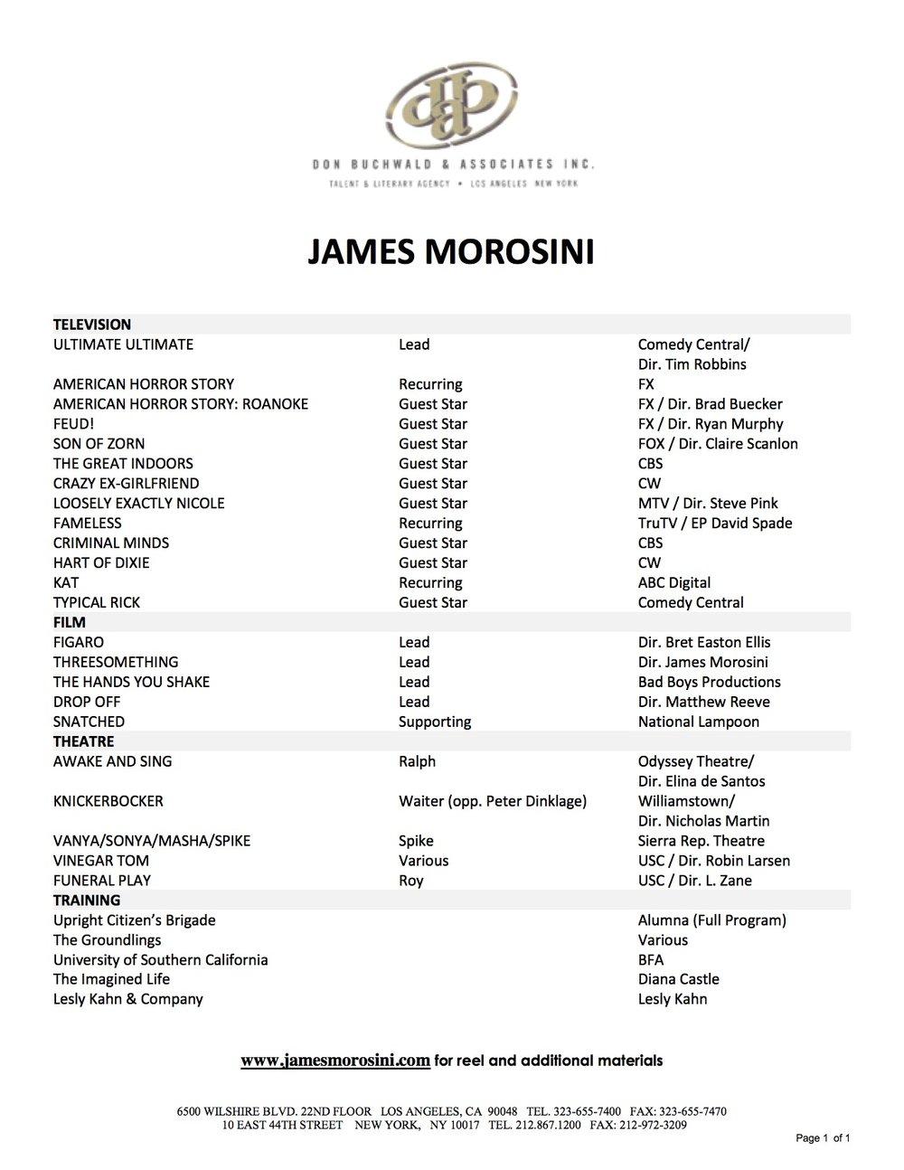 James Morosini Resume