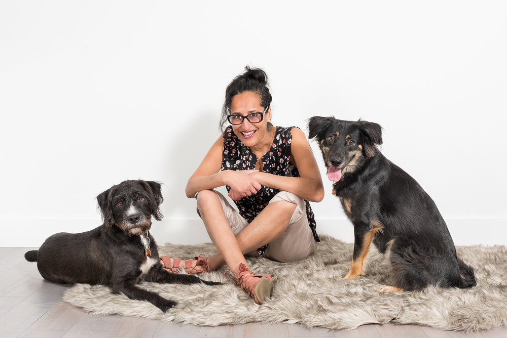 Nikita and her two dogs - Mac and Brody.