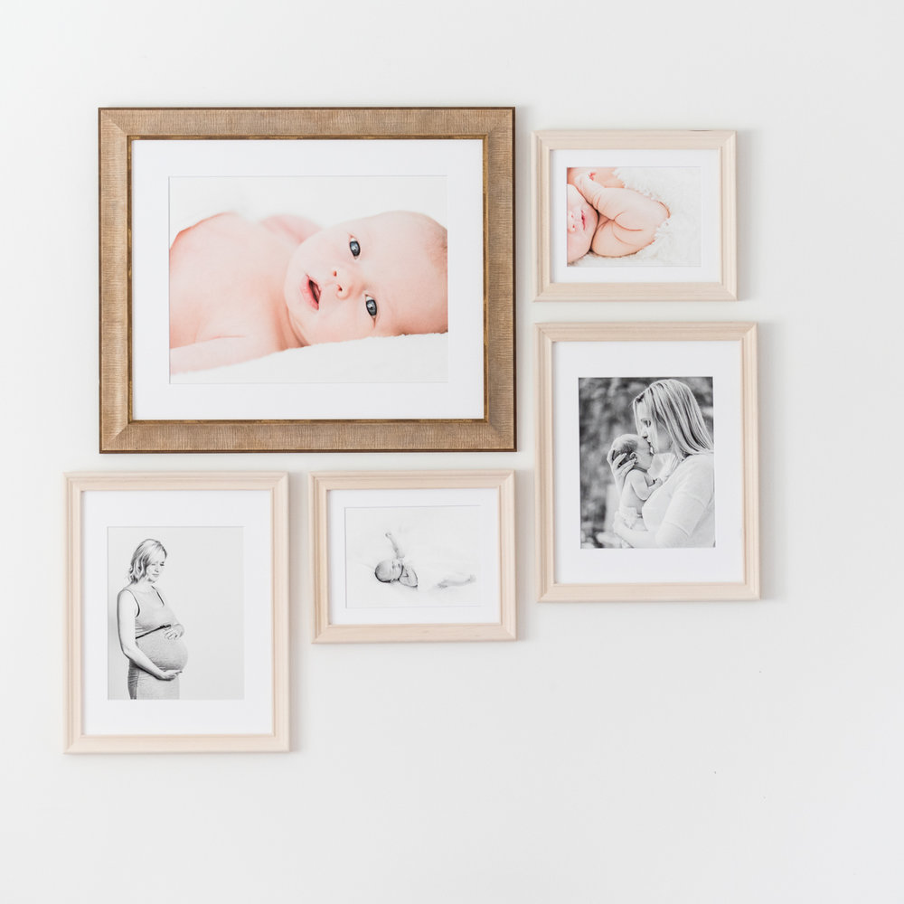 Custom collage - a single unique frame helps the centrepiece stand out. Colour portraits are of a limited colour palette, so they do not clash with the black and white portraits.