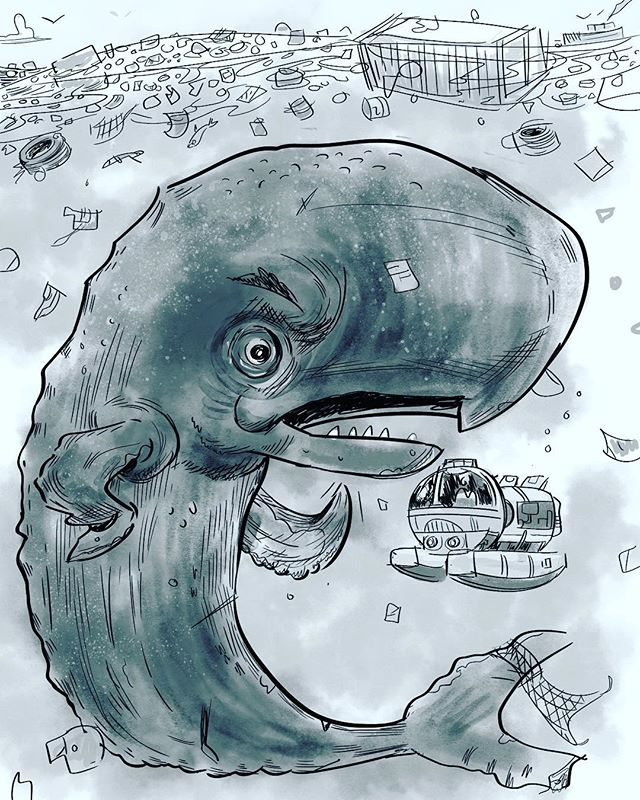Inktober 2018 rolls on- this prompt, whale! #inkwash #inktober2018 #inktoberprompts #penandinkdrawing #sealife #whales #characterdesigner #characterdesignchallenge #digitalinktober #digitalinking #plasticocean #pacificgarbagepatch #gameart #touchtouchstudio #oceanlover #oceancleanup #conceptartist #gameartist