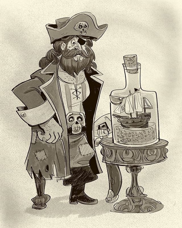Inktober 2018-- today's prompt was bottle. Keeping focused on improving my digital ink game. #inktober2018 #inktoberprompts #inkaholik #digitalinking #photoshopdrawing #characterdesign #pirates #shipinabottle #characterdesigner #digitalartwork #touchtouchstudio #gameartist #gamedev #visualdevelopment #drawingdaily #drawingchallenge #inklovers #visualnarrative #wacommobilestudiopro #mobilestudiopro #adobephotoshop #kylesbrushes