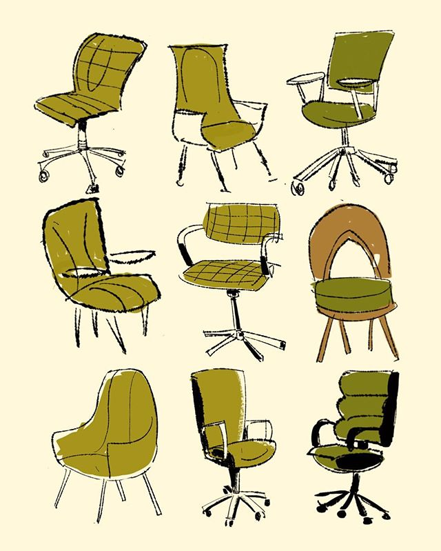 Surprisingly busy end to 2018! Getting back to posting my work. Meeting Room Chair sketches done in #procreatelettering #chairs #drawingsketch #sketcheveryday #characterdesign #backgrounddesign #touchtouchstudio #exploration #drawingdesign #midcenturymodern #midcenturymoderndesign #furnituredrawing #bkg #procreatedrawing